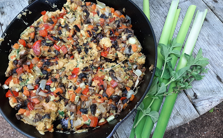 Vegan omelette (with wildcrafted cattails)